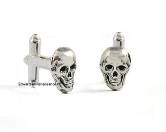 Skull Head Cuff Links Gothic Victorian Antique Sterling Silver Vintage Inspired Skeleton with Tie Pin and Tie Clip Set Options