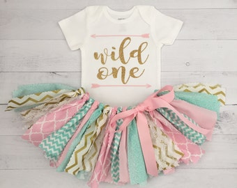 Mint, Pink and Gold Wild One Birthday Outfit, Baby Girl Cake Smash Birthday Outfit, Pink Mint and Gold Birthday Outfit