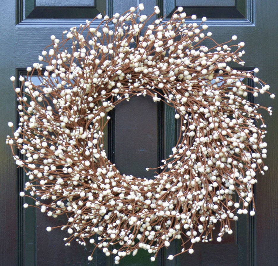 Cream Berry Wreath  Berry Door Wreath  Year Round Wreath  White Wedding  Wreath  Christmas Wreath Winter Wreath Fall Wreath  15 COLOR OPTIONS