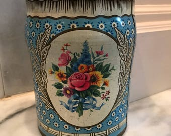 Shabby lil biscuit tin/ mid century / blue/ cookies/ storage