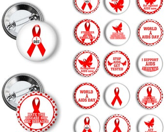 Aids Awareness Red Ribbon World Aids Day Awareness Buttons  Aids Awareness Badges 1.25 inch pinback buttons pin badges