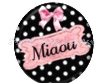 1 round cabochon 30 mm, animals, cat, pink and black