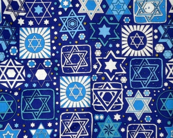 Tossed Stars Jewish Fabric on Navy Blue