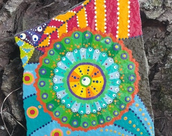 Mixed Design Painted Rock