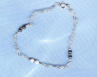 SALE Romantic Hearts Gemstone OOAK Bracelet Sterling Silver BracGen05