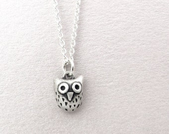Very tiny owl necklace in sterling silver, cute owl jewelry, daughter gift for mom