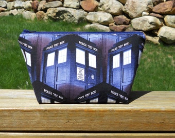 Small Makeup Bag, Taris, Doctor Who, Tardis Makeup Bag, Doctor Who Makeup Bag, Blue Tardis Cosmetic Bag