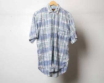 VERSACE style men's PAISLEY style ABSTRACT 90s short sleeve button up shirt pastel purple short sleeve vintage button up down shirt