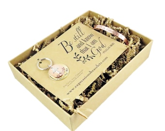 Be Still Gift Set Ready to Ship | Gifts for Her Hand Stamped Key Chain and Bracelet | Spiritual Item |  expressions bracelets