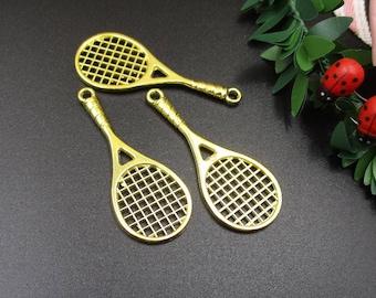 5Pcs 48x19mm Gold Tennis Racket Charms-p1835