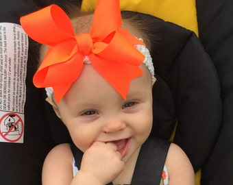 Bow Crown, Neon Hunter Orange (Hair Bow Attached by Band, Newborn-3 Yrs)