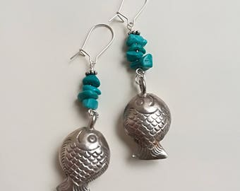Fish & Turquoise Pendant Earrings