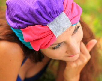 Turban with Bow - Color Block Hair Wrap in Jersey Knit - Women's Fashion Head Covering - Tropical