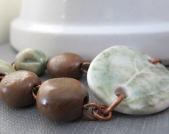Leaf Bracelet, Ceramic Bracelet, Copper Bracelet, Clay Jewelry, Copper Chain, Green, Brown,