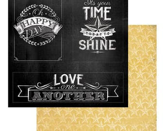 SCRAPBOOK PAPER / 4 Sheets / My Minds Eye - Chalk Studio 2 Collection - Shine / 12 x 12 inches