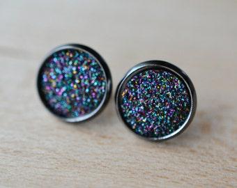 Galactic Druzy Earrings - Midnight Rainbow Druzy Earrings - Gunmetal Druzy Earrings - Gunmetal earrings - Druzy Stud Earrings