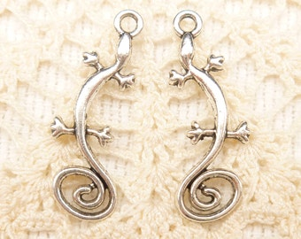 Artsy Swirl Tail Lizard Charms, Antique Silver (8) - S172