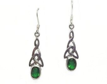 Emerald Green Earrings~Sterling Silver Celtic Emerald Green CZ Earrings~Irish Green Celtic Knot Earrings~May Birthstone Jewelry~Gift for Her