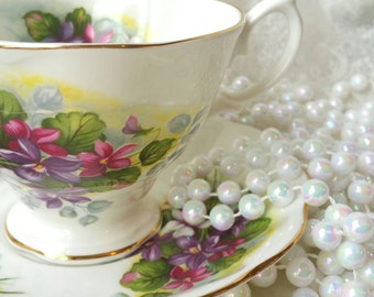 Vintage Tea Cup and Saucer /ROYAL ALBERT  Purple and Pink Violets Vintage Tea Party / Collectable teacup