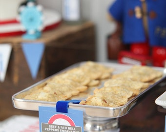 British party theme food tags