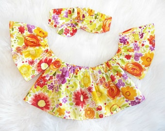 Fresh Picked Floral Off The Shoulder Top/ Crop Top Cold Shoulder Top/Crop Top 3,6,9,12 months, 2T, 3T, 4T 5T
