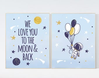 Nursery decor space, we love you to the moon and back, nursery decor nursery wall art, Space nursery decor, nursery decor boy, space theme