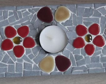 Candle holder made of mosaic and Japanese stones