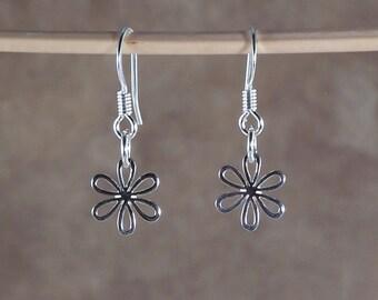 Little Daisy Earrings, Sterling Silver Earrings, Flower Earrings, Tiny Charm Earrings