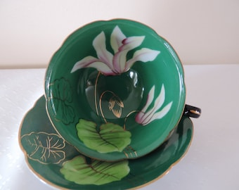 Cup Saucer porcelain English Princess China - painted handmade Lily green reduced... WAS 45.00