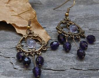 Bronze hoop earrings, Bohemian earrings purple, large earrings, mother's day gift idea for woman
