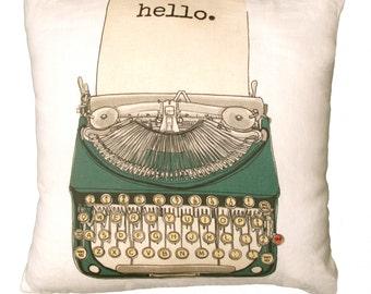 Vintage Typewriter Decorative Linen Pillow