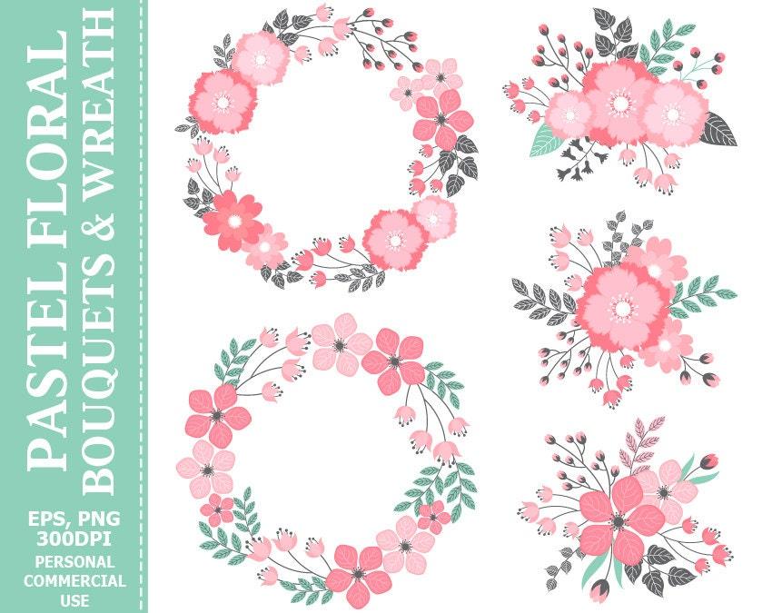 Digital Pastel Wreath & Bouquets Clip Art - Leaves, Flowers, Wedding ...