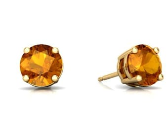 14Kt Yellow Gold Citrine Round Stud Earrings