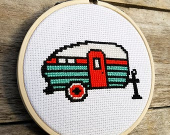Tiny Trailer Vintage Camper Cross Stitch Pattern - PDF DOWNLOAD - Home Decor / Housewarming Gift