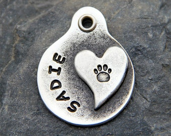 Dog Tag - Dog id Tag - Dog Name Tag - Dog Collar Tag- Paw Print Dog Tag - Hand Stamped Dog ID