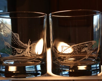 trout on whiskey glass or salmon on whiskey glass sold separately