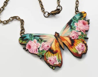 Butterfly Necklace, Pink Roses Collage Jewelry on Antiqued Bronze Chain
