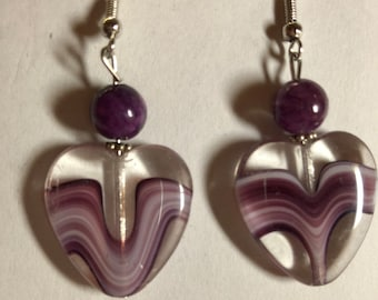 Purple Heart Drop Earrings