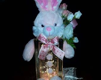 "Bunny Nursery Baby Girl Night Light Pink  ""Rita the Rabbit"""