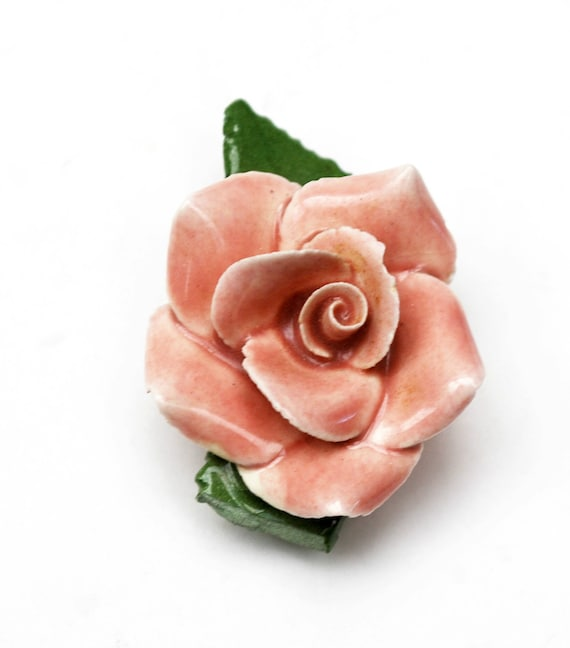Pink flower dress Clip - Pink  green ceramic porcelian  - Floral Flower  -vintage fur clip