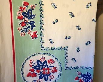 Vintage Cotton Tablecloth With Fruit 62 by 50 Inches