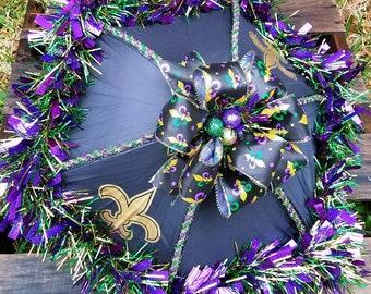 Sale reg. 49.99 now 45.00 Black Fleur De Lis Second Line Mardi Gras Wedding Umbrella Ready to Ship