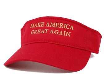 Donald Trump Visor, Make America Great Again - Quality METALLIC GOLD Embroidered Cotton Visor Cap