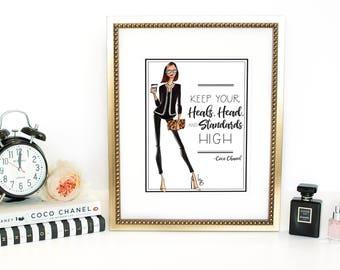 Fashion Illustration, Fashion Print, Coco Chanel Print, Coco Chanel quote, desk decor, cubicle decor