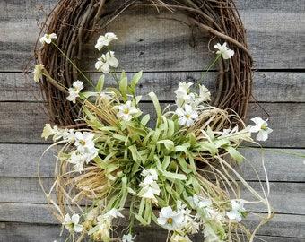 Front door wreaths, Summer wreaths, Home Decor wreaths, Wreath Great for All Year Round - Everyday Wreath, Door Wreath, Cream floral Wreath