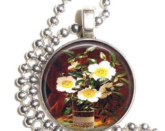 Cherokee Roses Art Pendant, White and Yellow Flowers Resin Pendant, Earrings & Keychain, Martin Johnson Heade Art, Photo Medallion