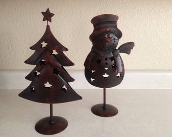 Rustic Christmas Tea Candle Holders