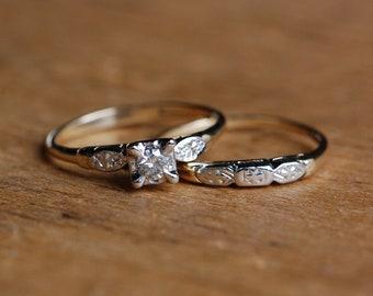 Vintage 1940s 14K two tone KEEPSAKE diamond bridal set