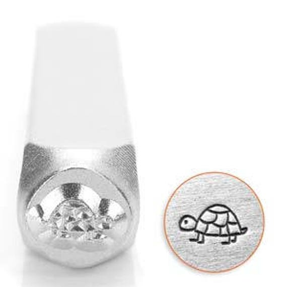 Shelly the Turtle Metal Design Stamp 6mm wide and 6mm high - Metal Punch - ImpressArt