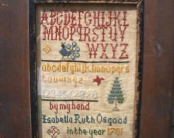 Primitive cross stitch, sampler chart/pattern,primitive needlework, schoolgirl sampler, early American , Isabella Ruth Osgood